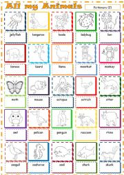 English Worksheet: All my Animals * Pictionary 2