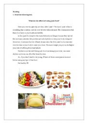 English Worksheet: Effects of junk food