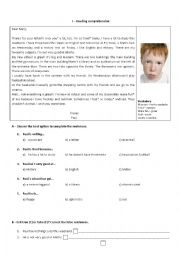 English Worksheet: 6th form written test