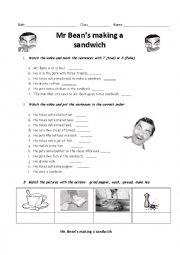 Mr Bean´s making a sandwich