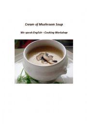 English Worksheet: Cream of Mushroom Soup - Cooking Verbs Gap Fill Worksheet