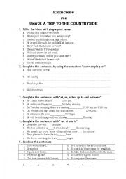 English Worksheet: Unit 3: A trip to the countryside