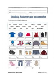 English Worksheet: Clothes, footwear and accessories