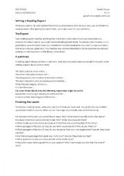 English Worksheet: Writing a Reading Report