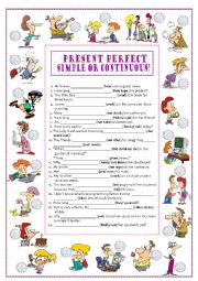 English Worksheet: PRESENT PERFECT SIMPLE & CONTINUOUS (1)