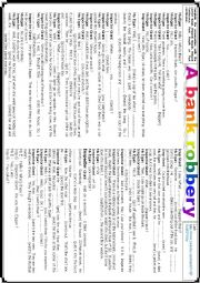 English Worksheet: A bank robbery (Watching and Listening) YouTube link included (3/3)