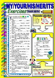 English Worksheet: My / Your / His / Her - Possessive Adjectives