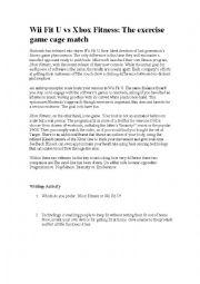 English Worksheet: Xbox Fitness vs WiiFit U