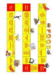 English Worksheet: TALKING ABOUT FOOD - BOARD GAME