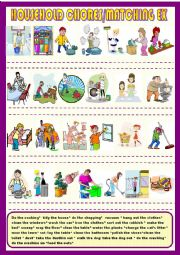 English Worksheet: Household chores, matching