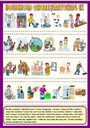 English Worksheet: Household chores, matching