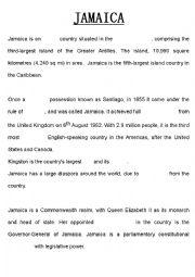 English Worksheet: Jamaica Summary