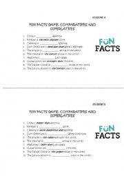 English Worksheet: Comparatives and Superlatives FUN FACTS GAME
