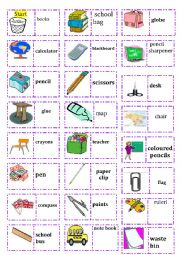 English Worksheet: school dominoes