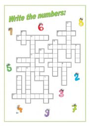 CROSSWORD NUMBERS 1 - 20