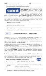 English Worksheet: facebook, short story