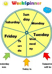 English Worksheet: Week Spinner(Time Wheel)- Day of the week