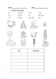 English Worksheet: city and countryside