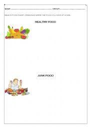 English Worksheet: Healthy food x Junk food