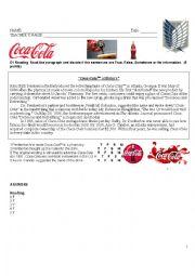 English Worksheet: The Coca Cola READING