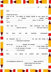 English Worksheet: 2nd letter PENPALS