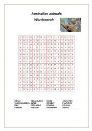 English Worksheet: Australian animals (2) Wordsearch