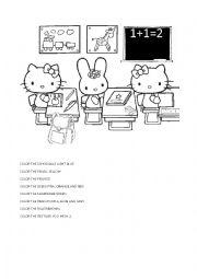 English Worksheet: Hello Kitty at classroom