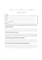 English Worksheet: Teaching Tolerance: A Time for Justice