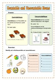 English Worksheet: Countable and Uncountable Nouns - How many/how much (2 pages)