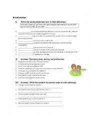 English Worksheet: Relationships