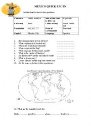 English Worksheet: Mexico Quick Facts