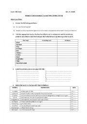 English Worksheet: MODULE 5: ENTERTAINMENT Lesson two: EATING OUT
