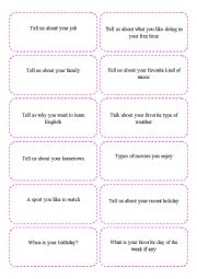 English Worksheet: Ice-breaker