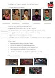 English Worksheet: The Big Bang Theory � Season 3, Episode 15 - The Large Hadron Collision