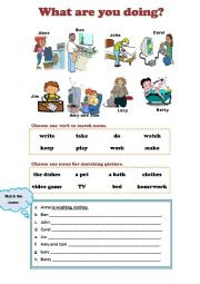 English Worksheet: What are you doing?  Present Continuous Tense