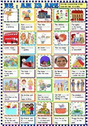 English Worksheet: BE :am is are  for young learners