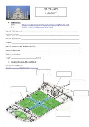English Worksheet: Taj Mahal - a webquest