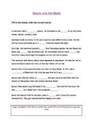 English Worksheet: Beauty and the beast Cloze test