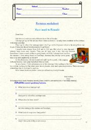 Revision worksheet: text interpretation (answer/question / question words), daily routine, frequency adverbs, question tags, possessive adjectives, pronouns and case.