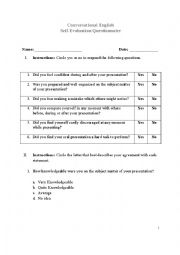 English Worksheet: Self-Evaluation Questionnaire