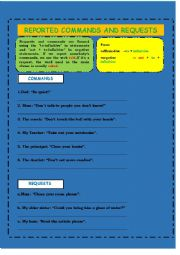 English Worksheet: reported speech: commands and requests