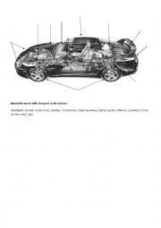 English Worksheet: Car parts qctivity