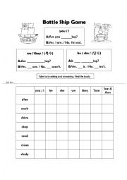 English Worksheet: Battle Ship Game ~ing verbs