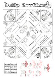 English Worksheet: Daily Routines Cootie Catcher with Garfield