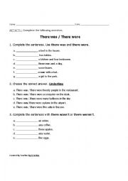 English Worksheet: There was / There were