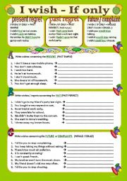 English Worksheet: WISHES- I wish / If only