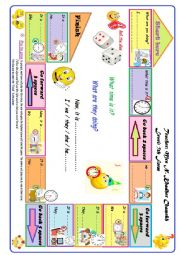 English Worksheet: Daily routines and expressing time; Game board