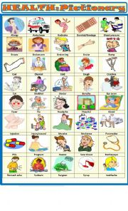 English Worksheet: Health : pictionary