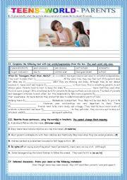 English Worksheet: TEENS� WORLD-PARENTS