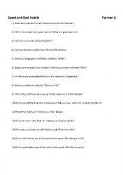 English Worksheet: Good and Bad Habits